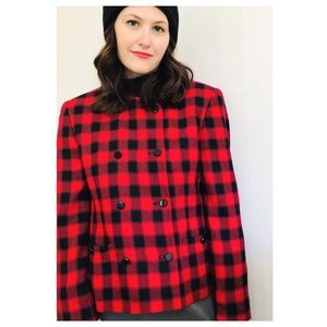 Vintage Double Breasted Red Buffalo Check Jacket